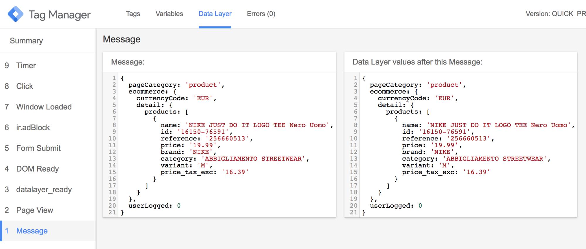 analisi del data layer da debug