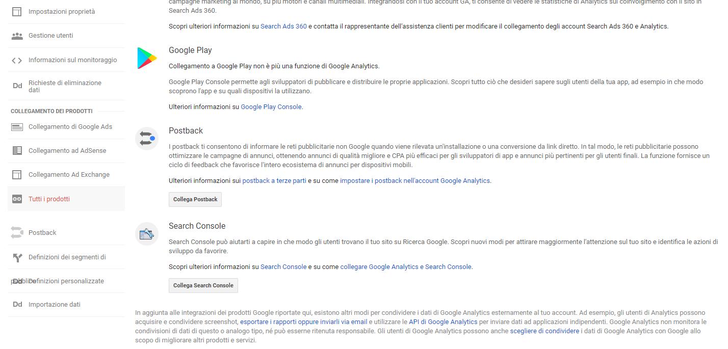 come collegare search console ad analytics
