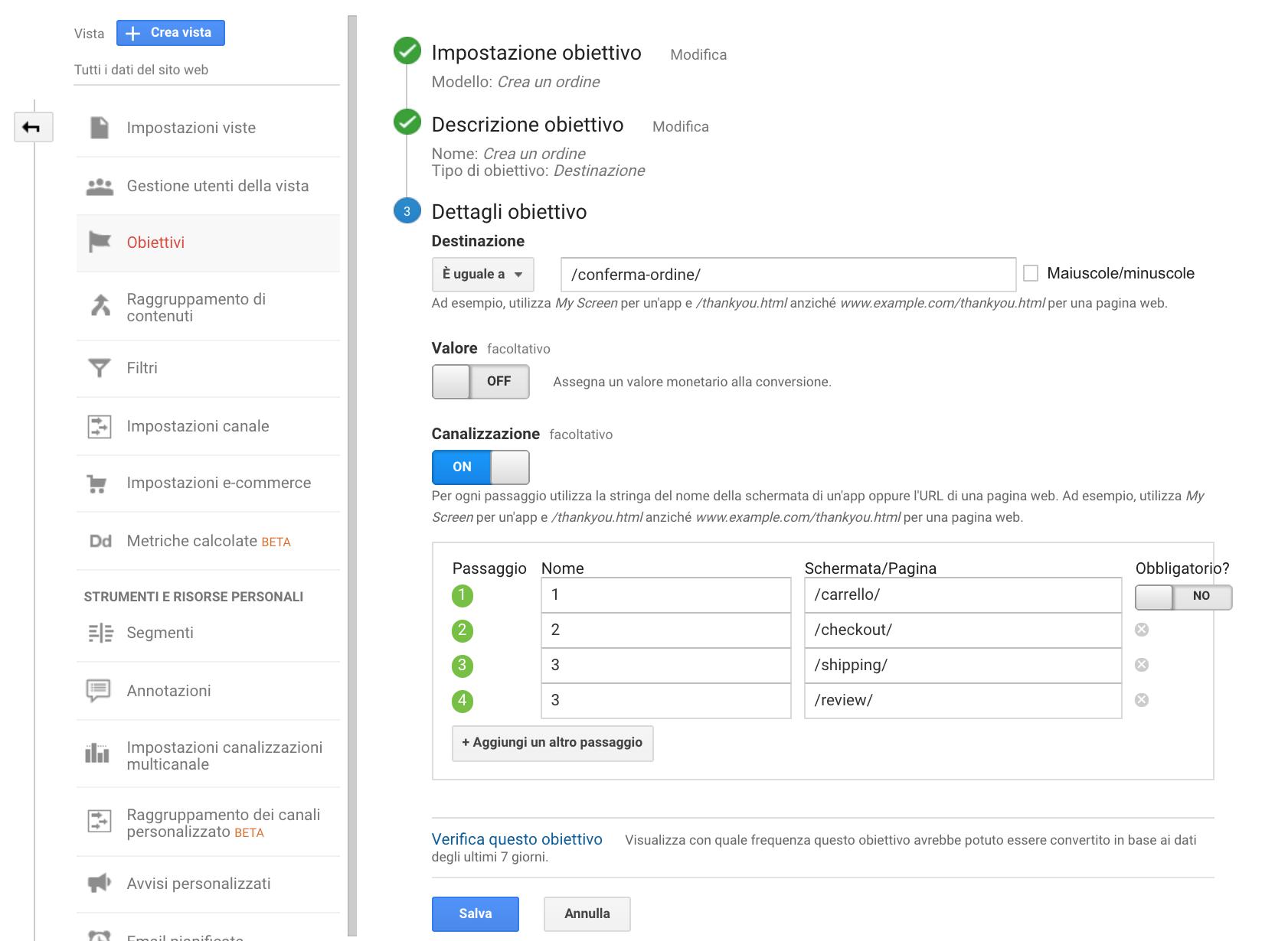 setup canalizzazione google analytics
