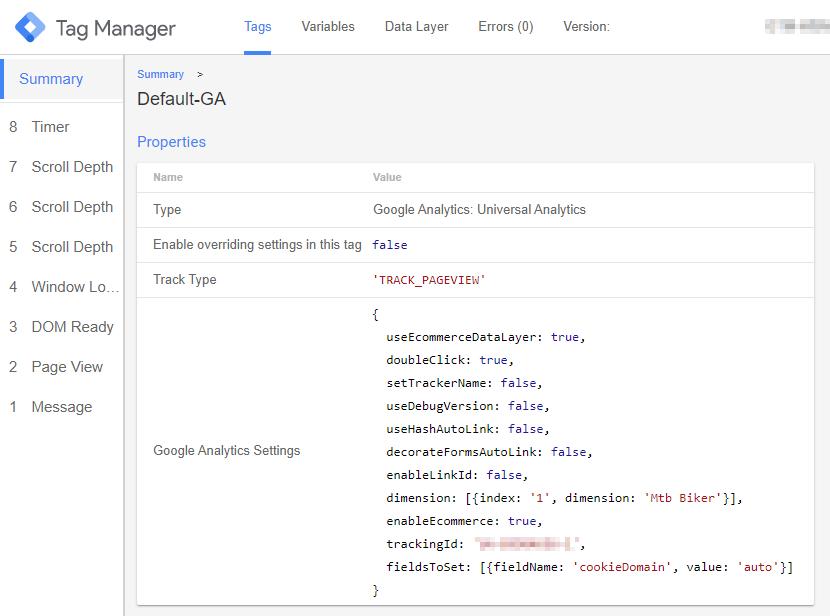 test su variabile personalizzata tag analytics