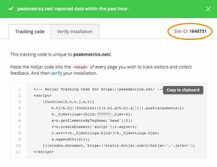 tracking code hotjar